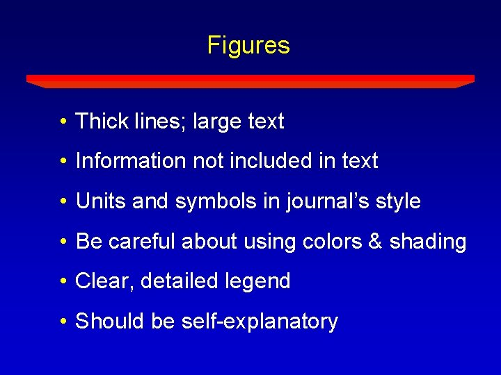 Figures • Thick lines; large text • Information not included in text • Units