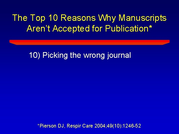 The Top 10 Reasons Why Manuscripts Aren't Accepted for Publication* 10) Picking the wrong
