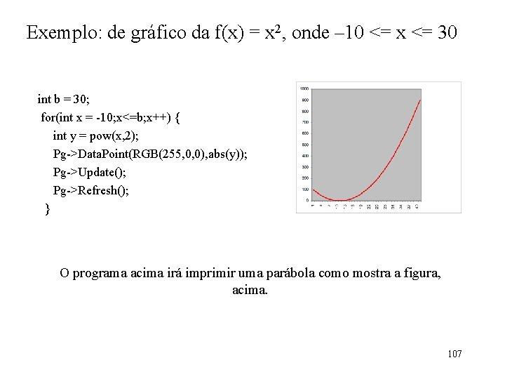 Exemplo: de gráfico da f(x) = x 2, onde – 10 <= x <=