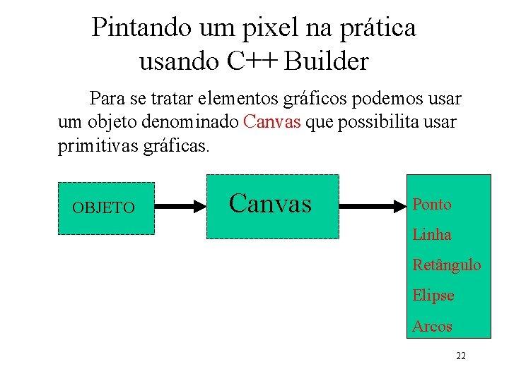 Pintando um pixel na prática usando C++ Builder Para se tratar elementos gráficos podemos