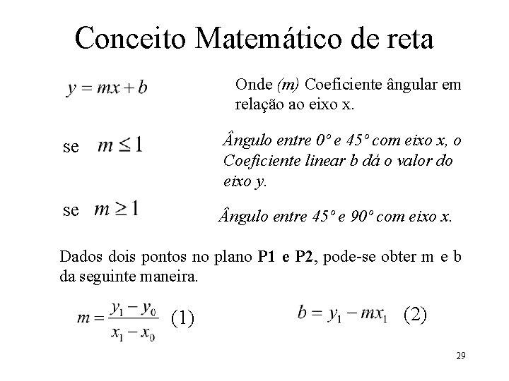 Conceito Matemático de reta Onde (m) Coeficiente ângular em relação ao eixo x. se