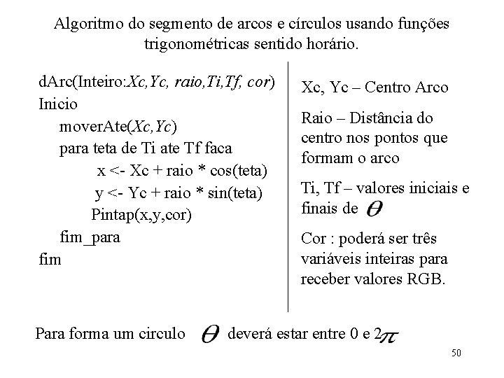 Algoritmo do segmento de arcos e círculos usando funções trigonométricas sentido horário. d. Arc(Inteiro: