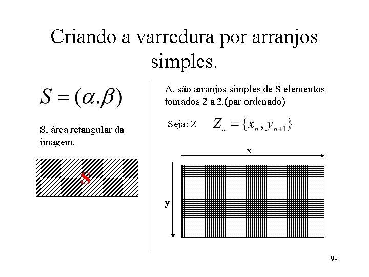 Criando a varredura por arranjos simples. A, são arranjos simples de S elementos tomados