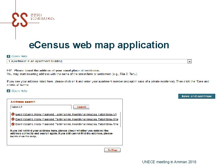 e. Census web map application UNECE meeting in Amman 2016