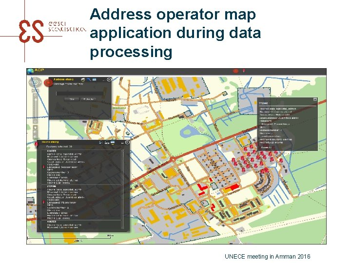 Address operator map application during data processing UNECE meeting in Amman 2016