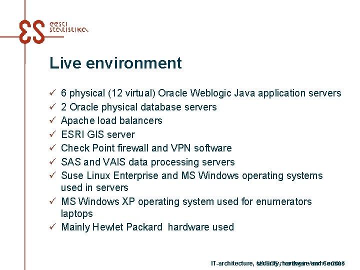 Live environment ü ü ü ü 6 physical (12 virtual) Oracle Weblogic Java application