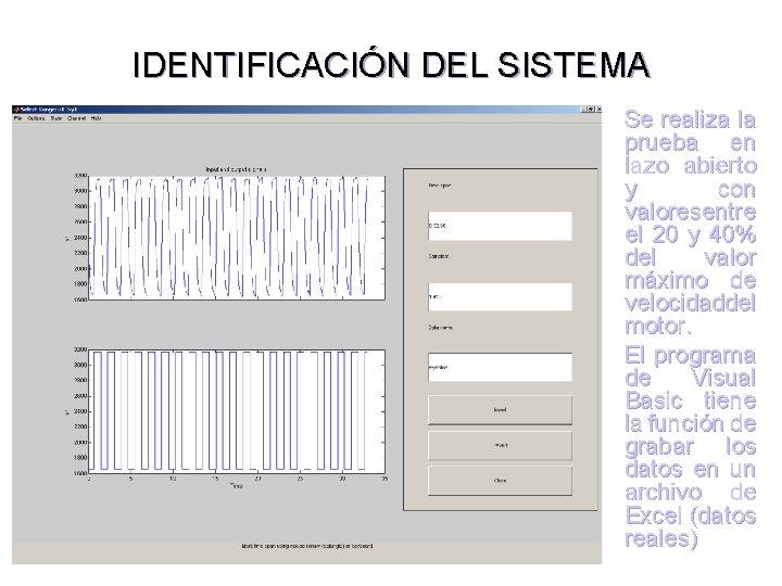 IDENTIFICACIÓN DEL SISTEMA Se realiza la prueba en lazo abierto y con valoresentre el