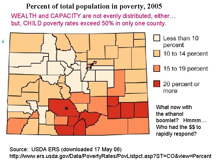 Percent of total population in poverty, 2005 WEALTH and CAPACITY are not evenly distributed,