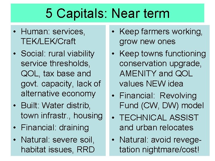 5 Capitals: Near term • Human: services, TEK/LEK/Craft • Social: rural viability service thresholds,