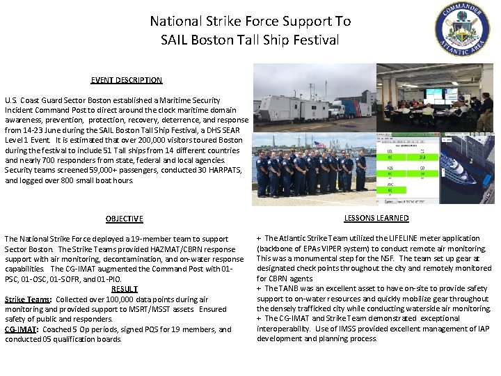 National Strike Force Support To SAIL Boston Tall Ship Festival EVENT DESCRIPTION U. S.