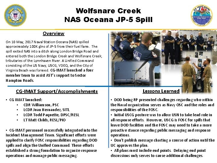 Wolfsnare Creek NAS Oceana JP-5 Spill Overview On 10 May, 2017 Naval Station Oceana