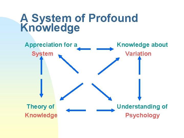 A System of Profound Knowledge Appreciation for a System Knowledge about Variation Theory of