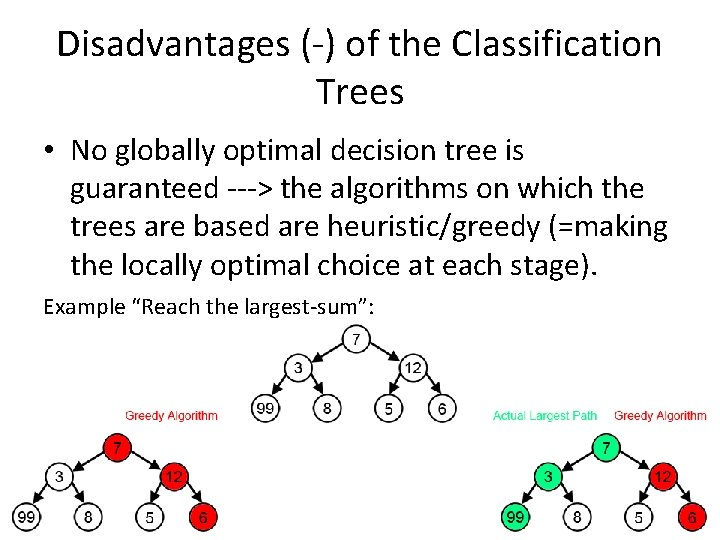 Disadvantages (-) of the Classification Trees • No globally optimal decision tree is guaranteed