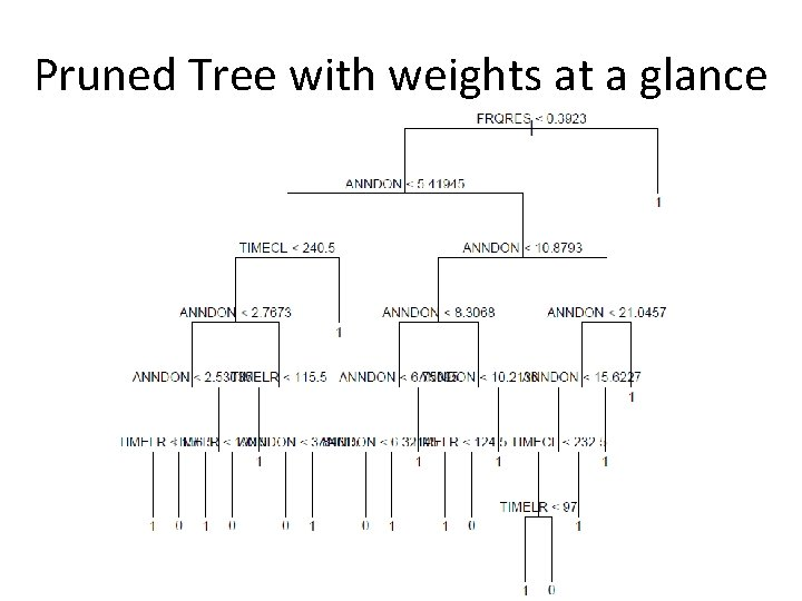 Pruned Tree with weights at a glance