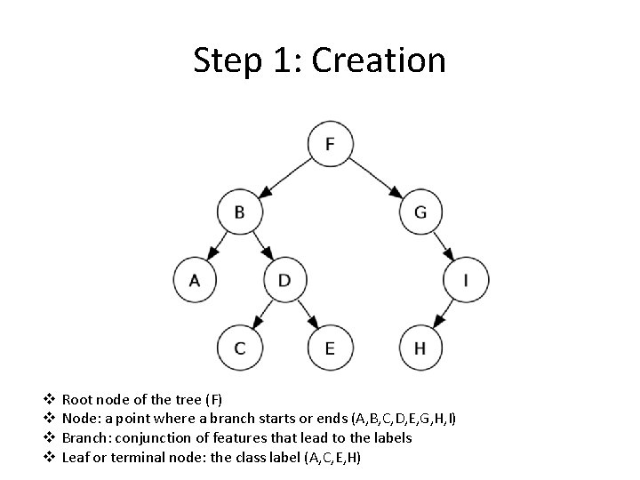 Step 1: Creation v v Root node of the tree (F) Node: a point