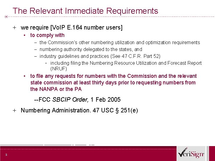 The Relevant Immediate Requirements + we require [Vo. IP E. 164 number users] ▪