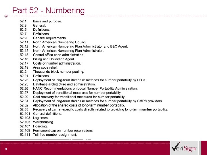 Part 52 - Numbering 3