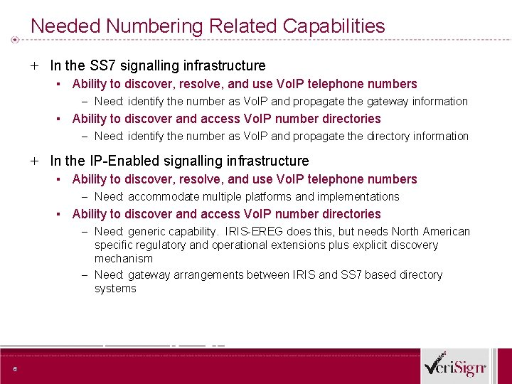 Needed Numbering Related Capabilities + In the SS 7 signalling infrastructure ▪ Ability to