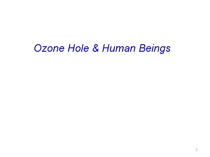 Ozone Hole & Human Beings 2