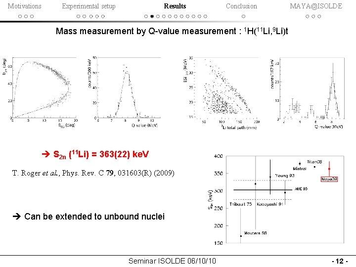 Motivations Experimental setup Results Conclusion MAYA@ISOLDE Mass measurement by Q-value measurement : 1 H(11