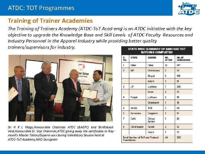 ATDC: TOT Programmes Training of Trainer Academies The Training of Trainers Academy (ATDC To.