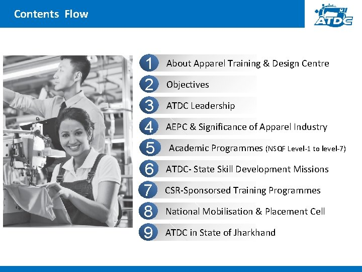 Contents Flow 1 2 3 4 5 6 7 8 9 About Apparel Training
