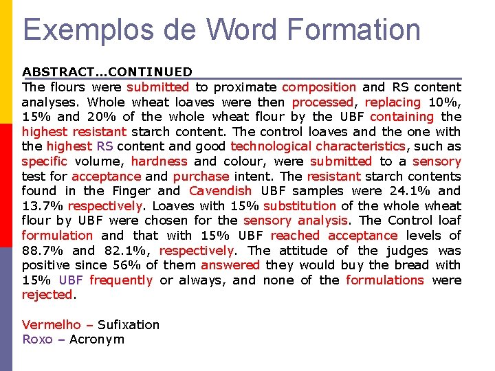 Exemplos de Word Formation ABSTRACT…CONTINUED The flours were submitted to proximate composition and RS