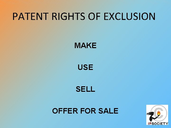 PATENT RIGHTS OF EXCLUSION MAKE USE SELL OFFER FOR SALE