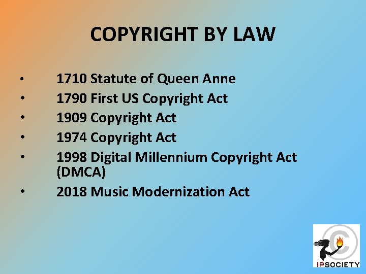 COPYRIGHT BY LAW • • • 1710 Statute of Queen Anne 1790 First US