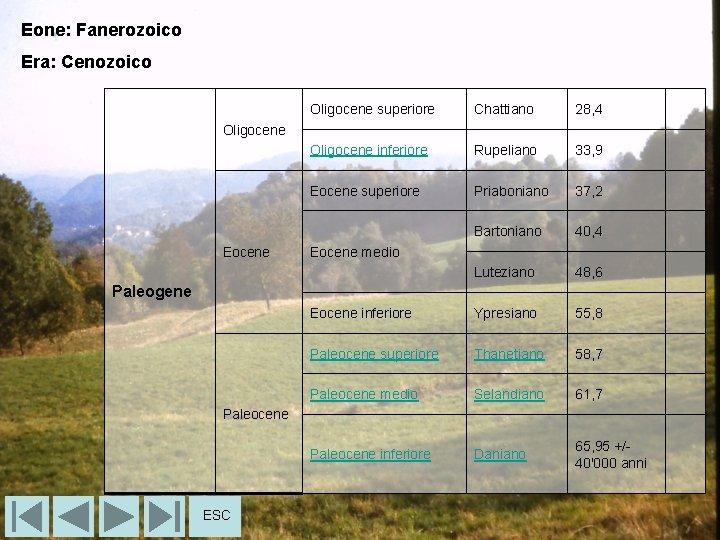 Eone: Fanerozoico Era: Cenozoico Oligocene superiore Chattiano 28, 4 Oligocene inferiore Rupeliano 33, 9