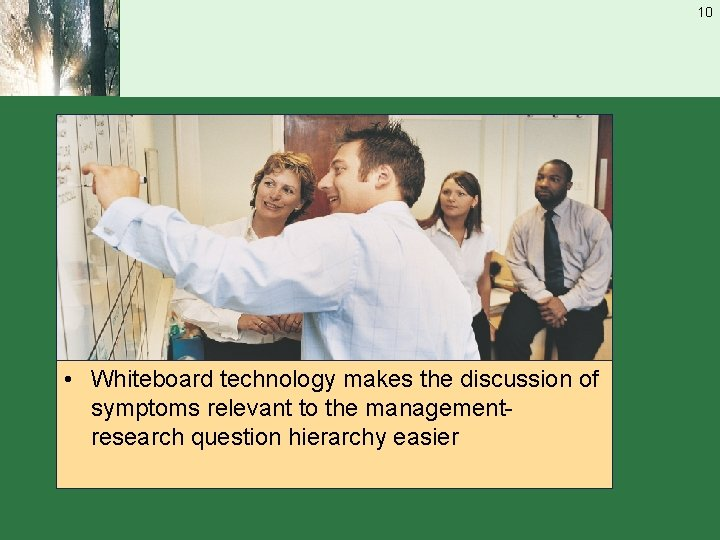 10 • Whiteboard technology makes the discussion of symptoms relevant to the managementresearch question
