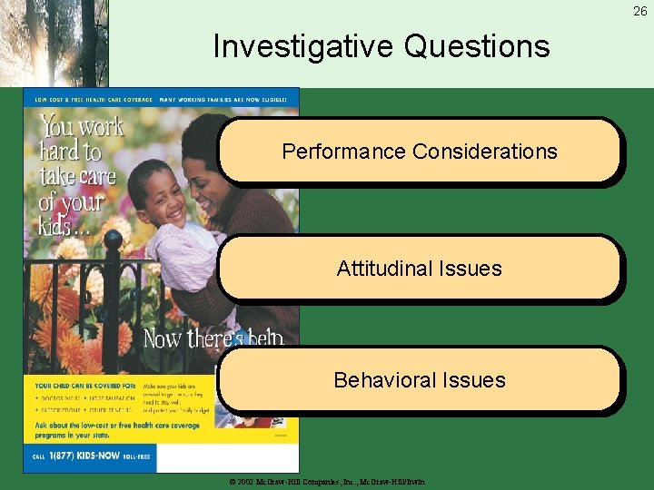 26 Investigative Questions Performance Considerations Attitudinal Issues Behavioral Issues © 2002 Mc. Graw-Hill Companies,