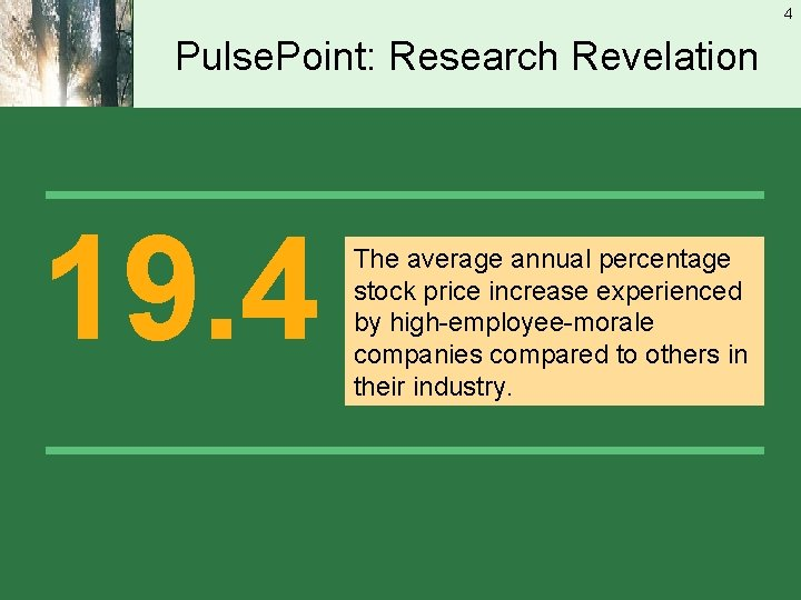 4 Pulse. Point: Research Revelation 19. 4 The average annual percentage stock price increase