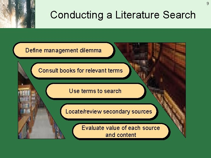 9 Conducting a Literature Search Define management dilemma Consult books for relevant terms Use