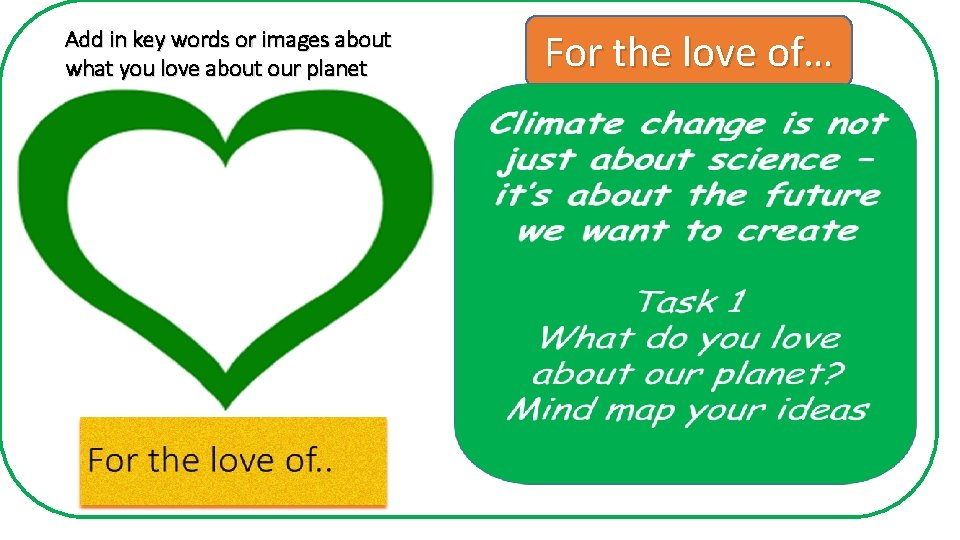 Add in key words or images about what you love about our planet For