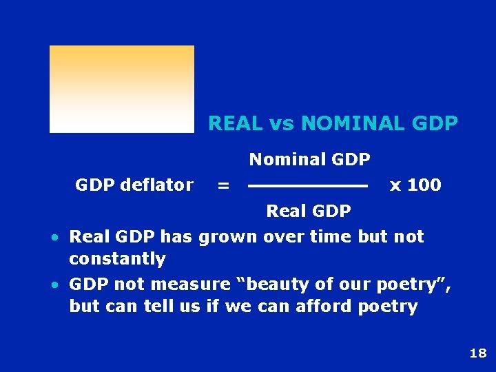REAL vs NOMINAL GDP Nominal GDP deflator = x 100 Real GDP • Real