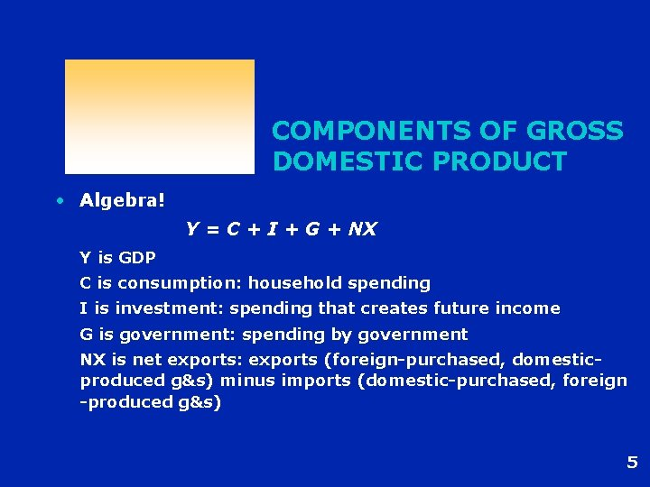 COMPONENTS OF GROSS DOMESTIC PRODUCT • Algebra! Y = C + I + G