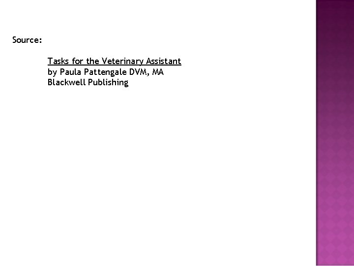 Source: Tasks for the Veterinary Assistant by Paula Pattengale DVM, MA Blackwell Publishing