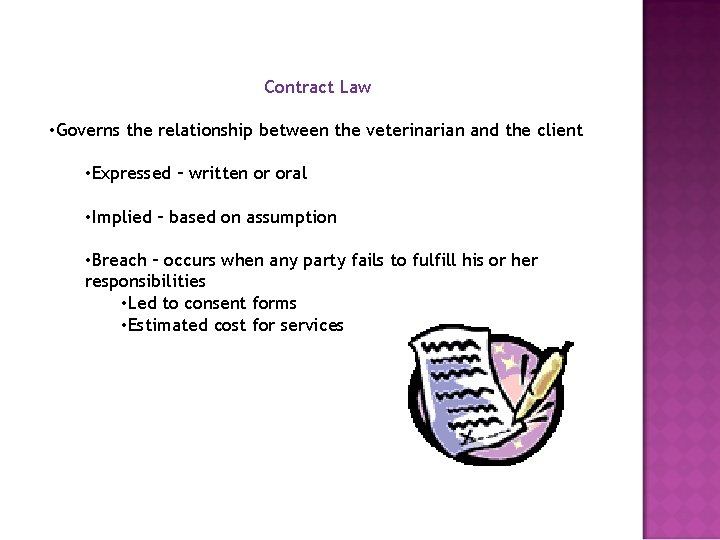 Contract Law • Governs the relationship between the veterinarian and the client • Expressed