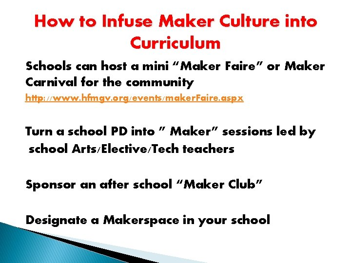 """How to Infuse Maker Culture into Curriculum Schools can host a mini """"Maker Faire"""""""
