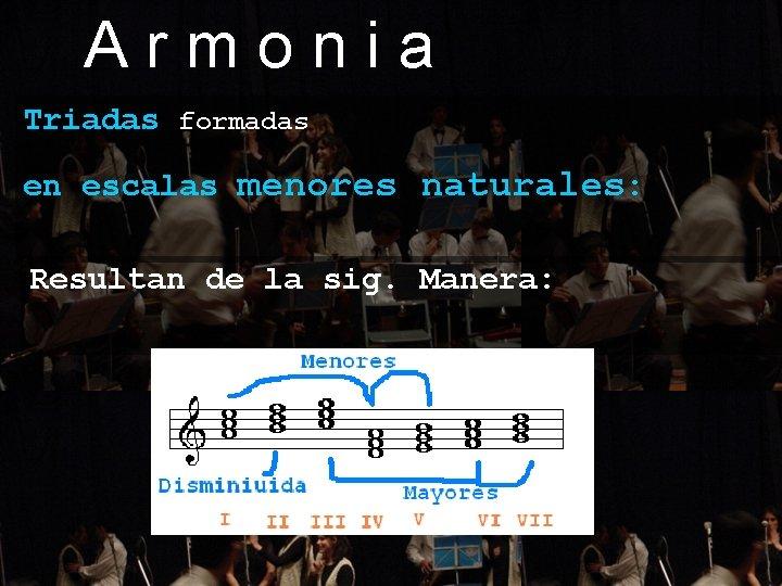 Armonia Triadas formadas en escalas menores naturales: Resultan de la sig. Manera: