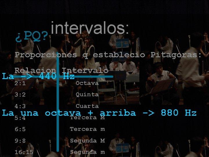 intervalos: ¿PQ? Proporciones q establecio Pitagoras: Relacion Intervalo La -> 440 Hz 2: 1