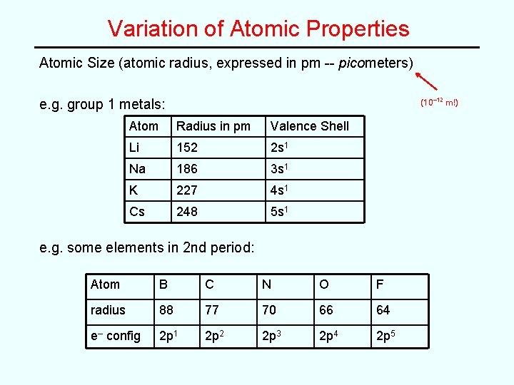 Variation of Atomic Properties Atomic Size (atomic radius, expressed in pm -- picometers) e.