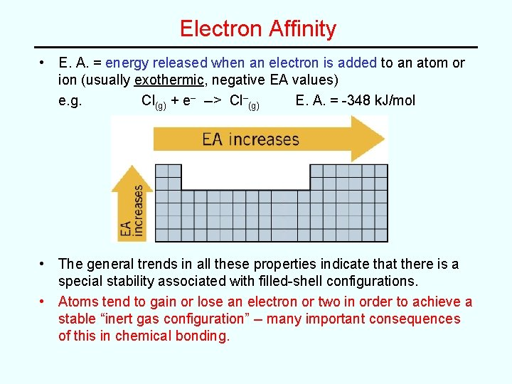 Electron Affinity • E. A. = energy released when an electron is added to