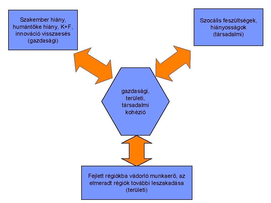 Szakember hiány, humántőke hiány, K+F, innováció visszaesés (gazdasági) Szocális feszültségek, hiányosságok (társadalmi) gazdasági, területi,
