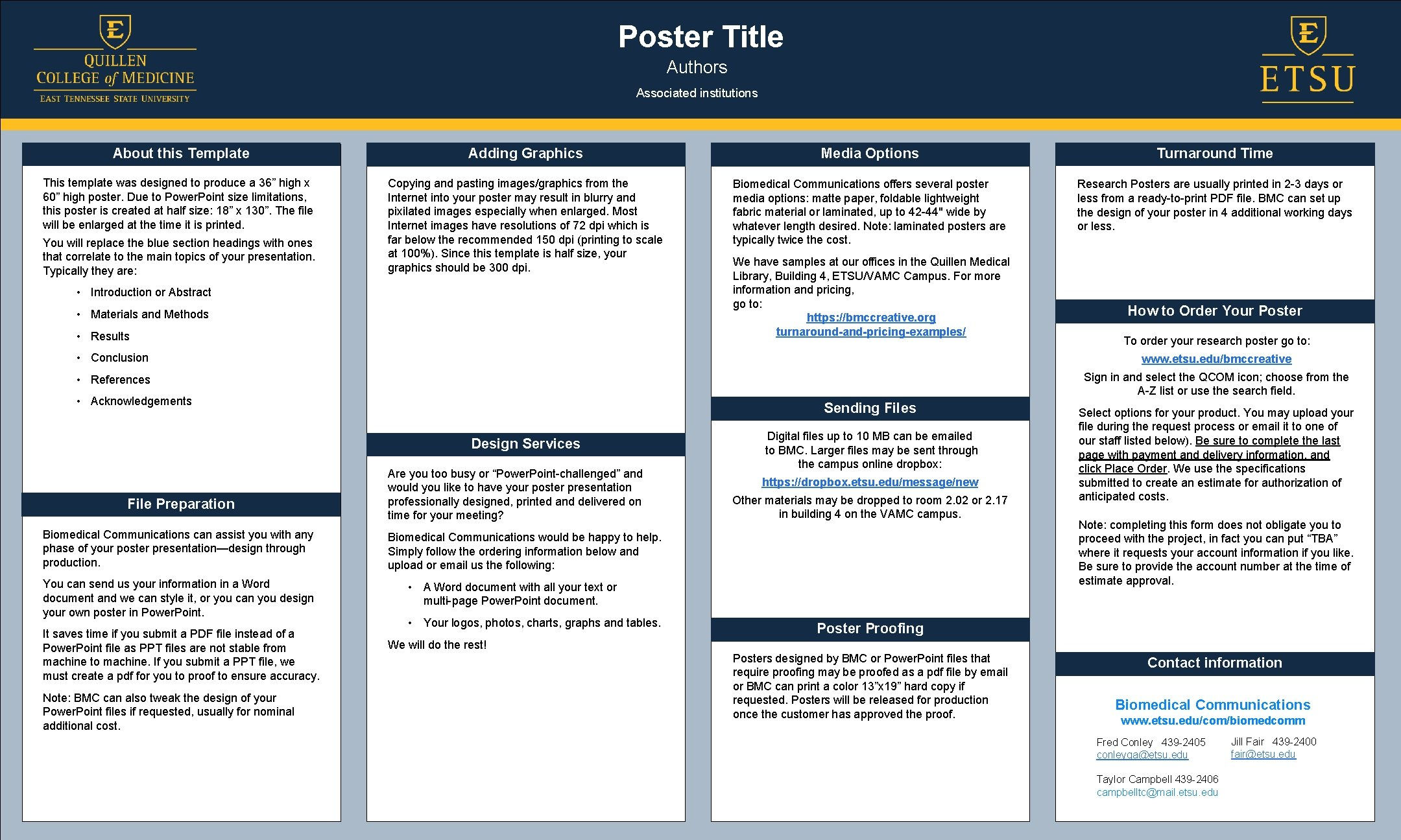 Poster Title Authors Associated institutions About this Template Adding Graphics Media Options Turnaround Time