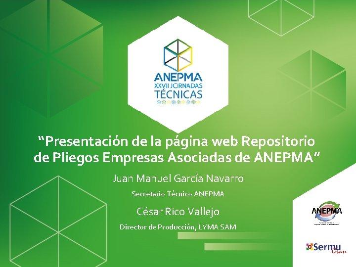 """""""Presentación de la página web Repositorio de Pliegos Empresas Asociadas de ANEPMA"""" Juan Manuel"""