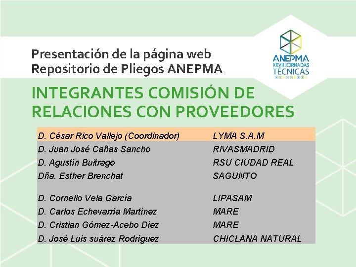 Presentación de la página web Repositorio de Pliegos ANEPMA INTEGRANTES COMISIÓN DE RELACIONES CON