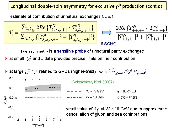 Longitudinal double-spin asymmetry for exclusive ρ0 production (cont. d) estimate of contribution of unnatural