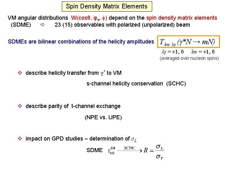 Spin Density Matrix Elements VM angular distributions W(cosθ, φπ, ϕ) depend on the spin